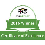 Trip Advisor 2016 Winner Certificate of Excellence